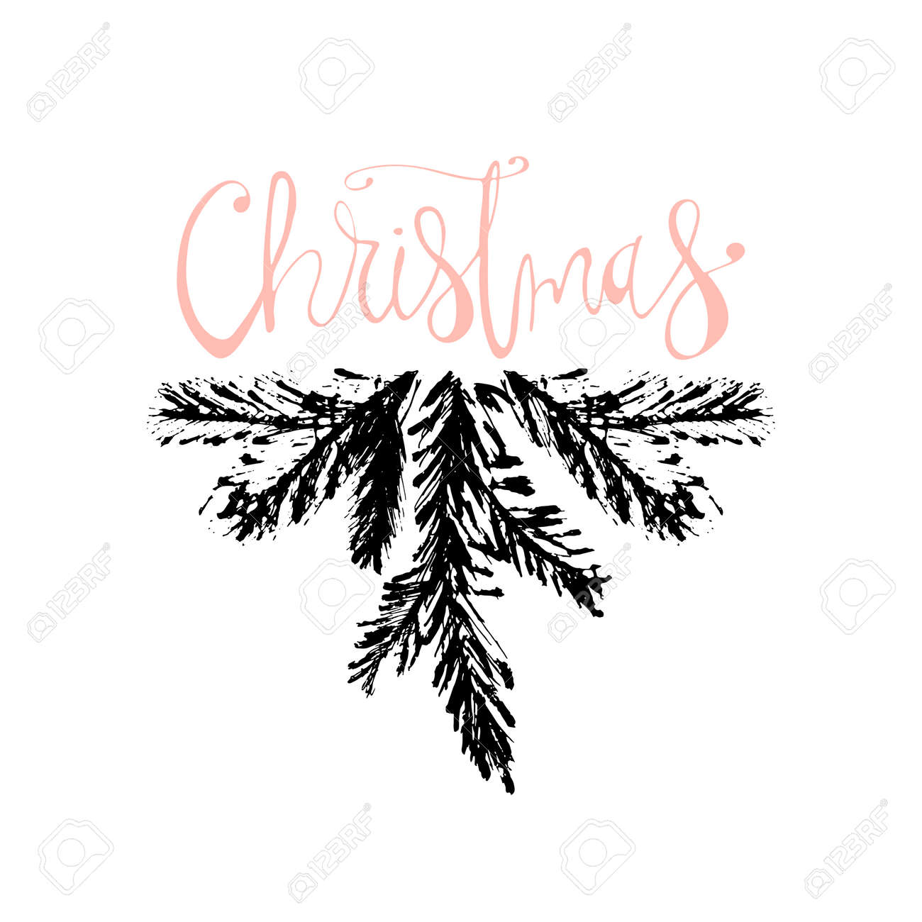 Merry Christmas Hand Drawn Christmas Tree Branch And Lettering ...