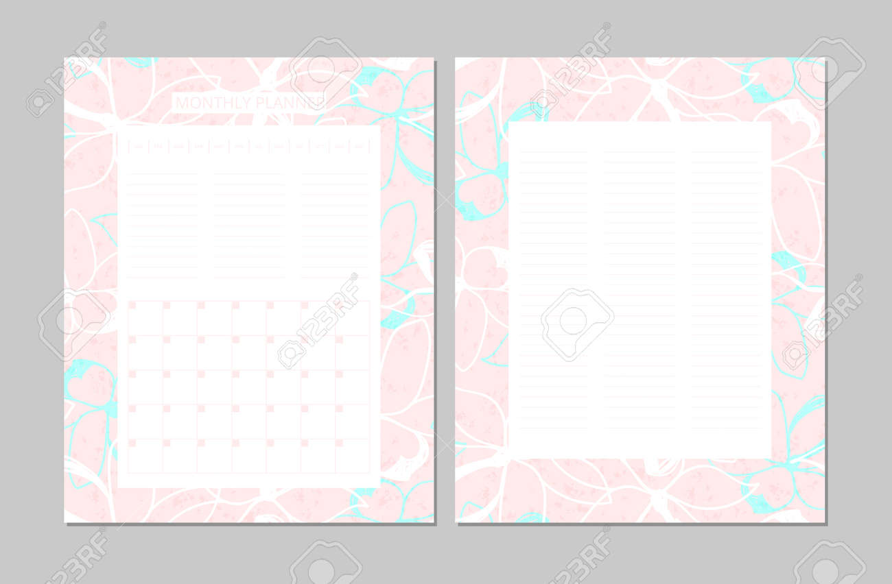 photo about Planner Printable known as Common Every month Planner. Printable Template. Vector. Floral..