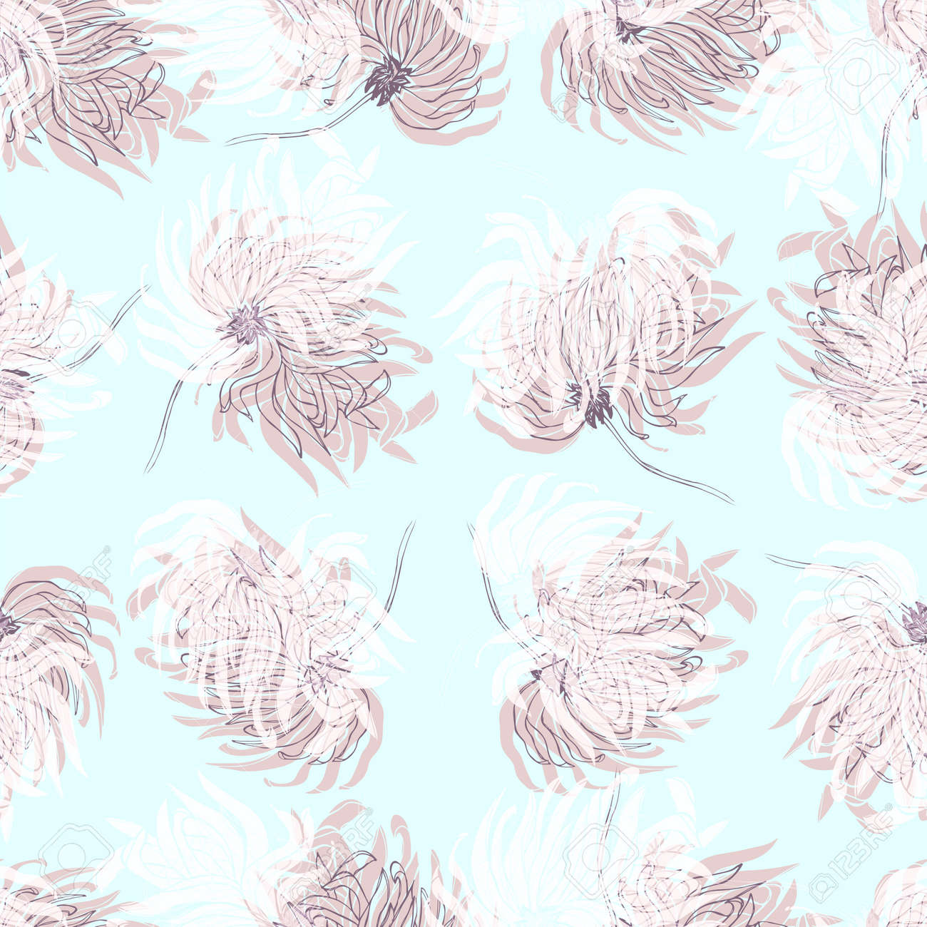 Dahlia Flower Seamless Pattern Pastel Pale Light Blue Floral