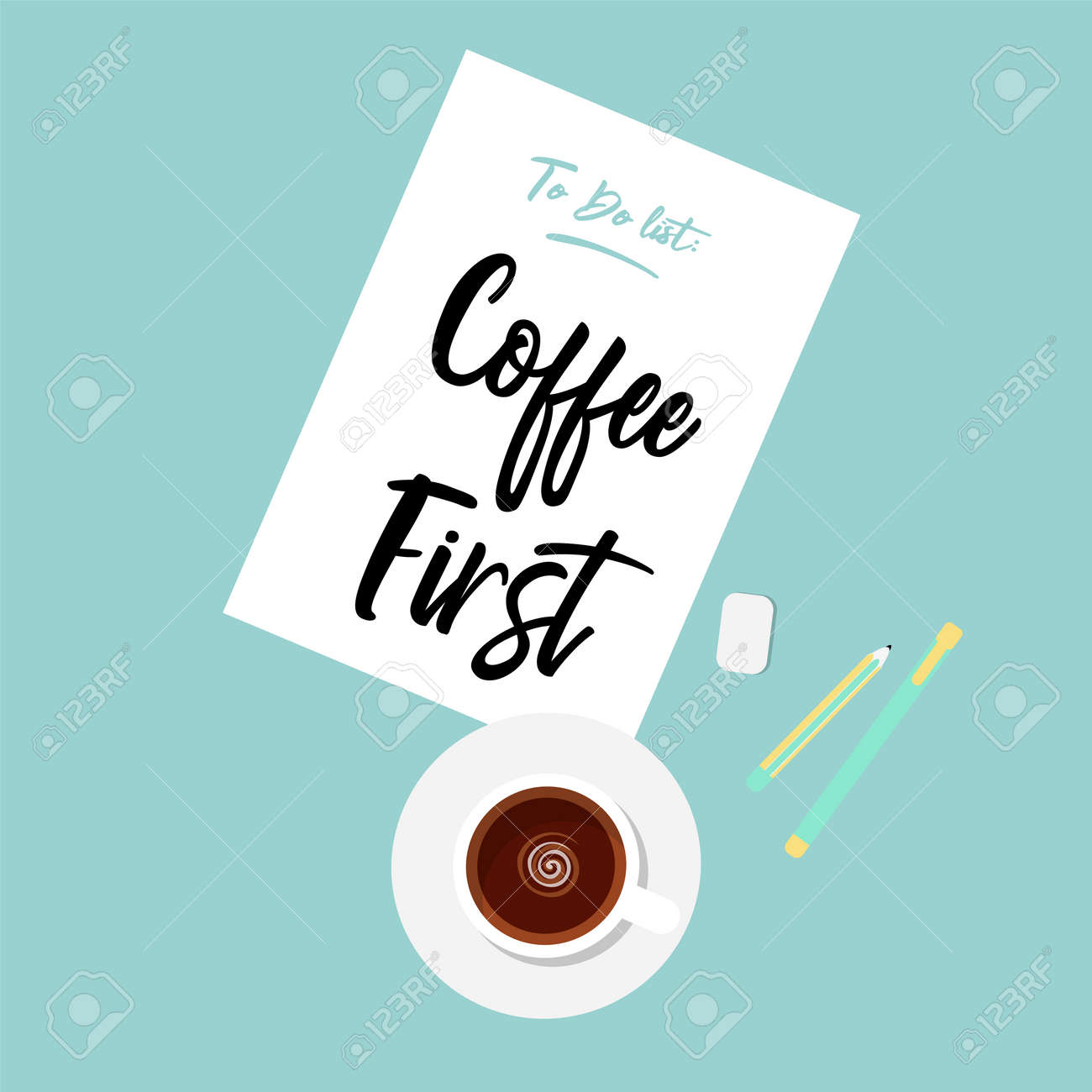 Cute Flat Illustration Of Coffee First Drinking Concept. Cute Vector Quote  In Pastel Colors.