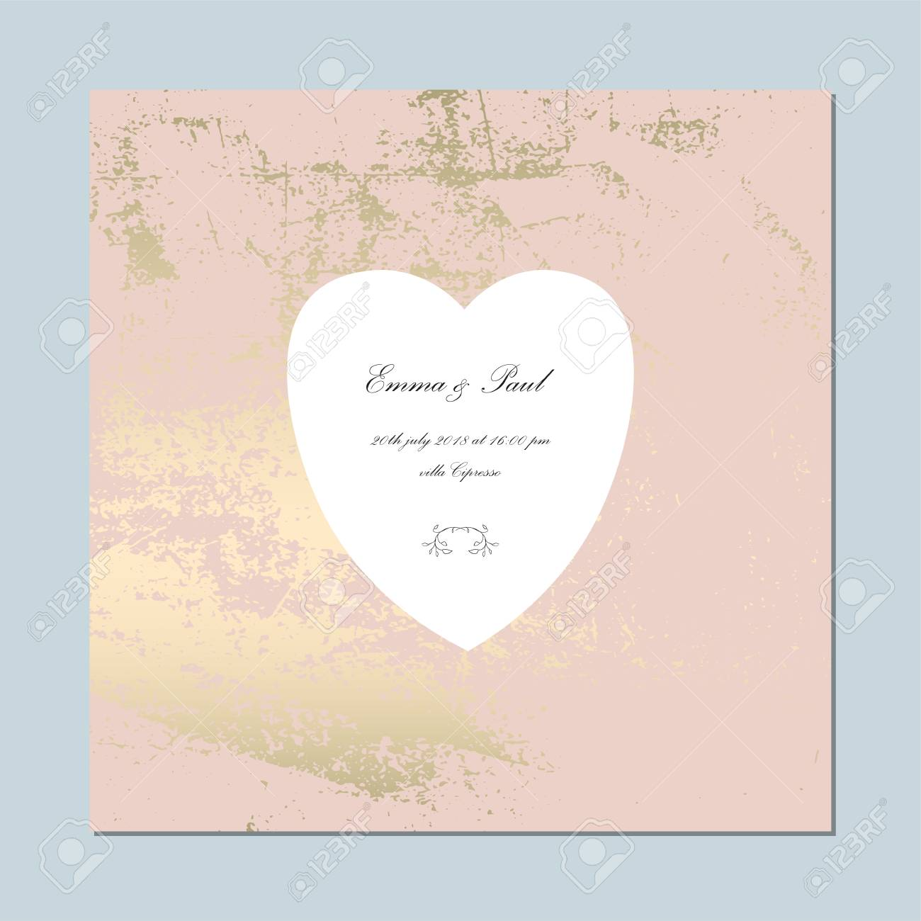 Set Of Trendy Elegant Pink Gold Cards For Wedding Invitations