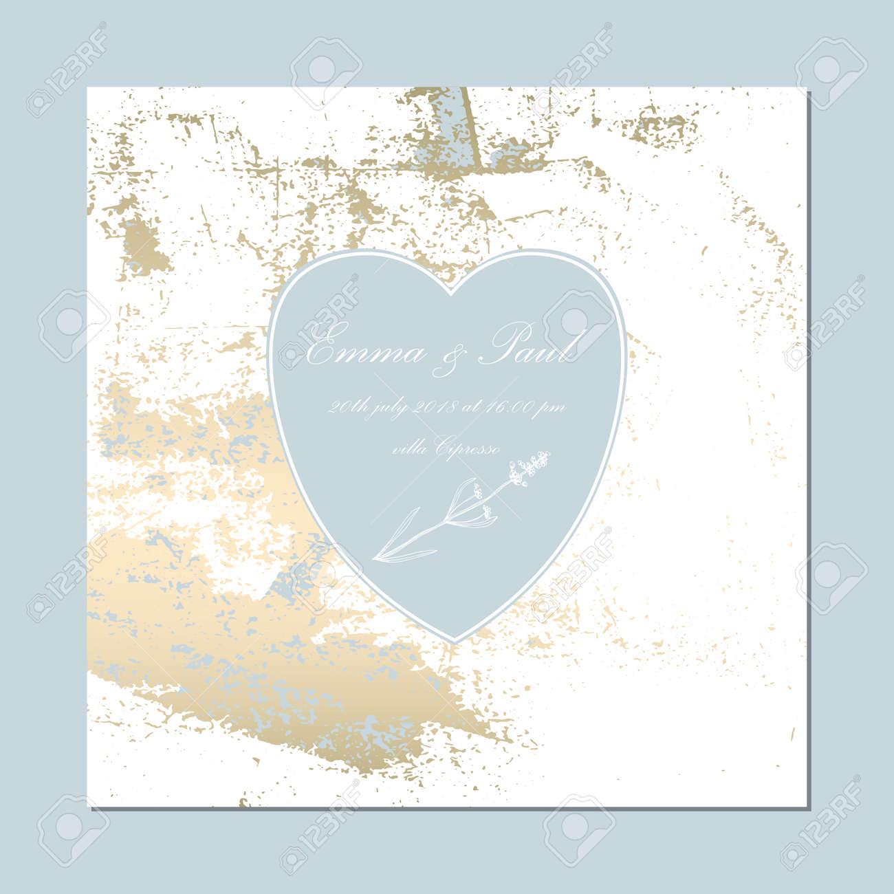 Set Of Trendy Elegant Pastel Blue Gold Cards For Wedding Invitations ...
