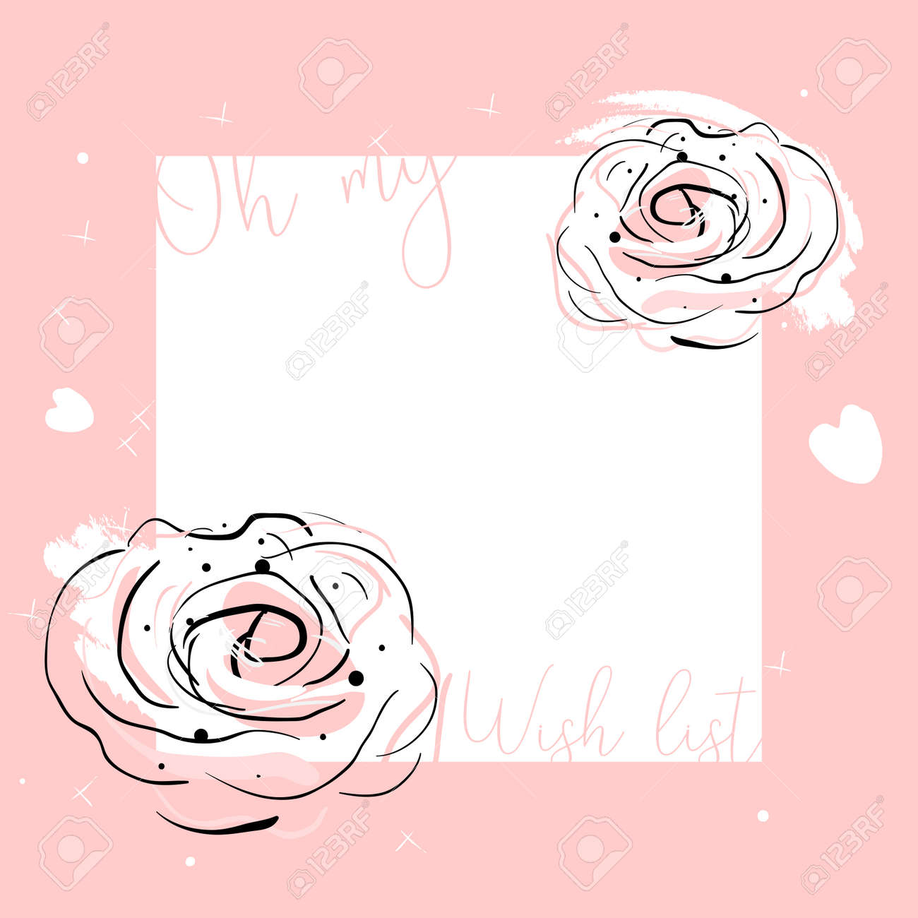 Cute girly template vector floral design. Pastel mint colored brush