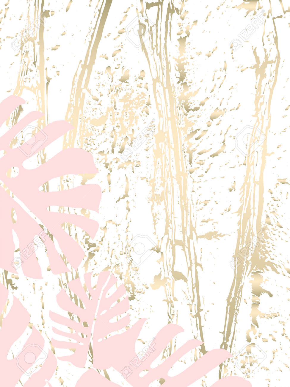 Tropical Worn Floral Pastel Gold Pattern With Monstera Palm Leaves
