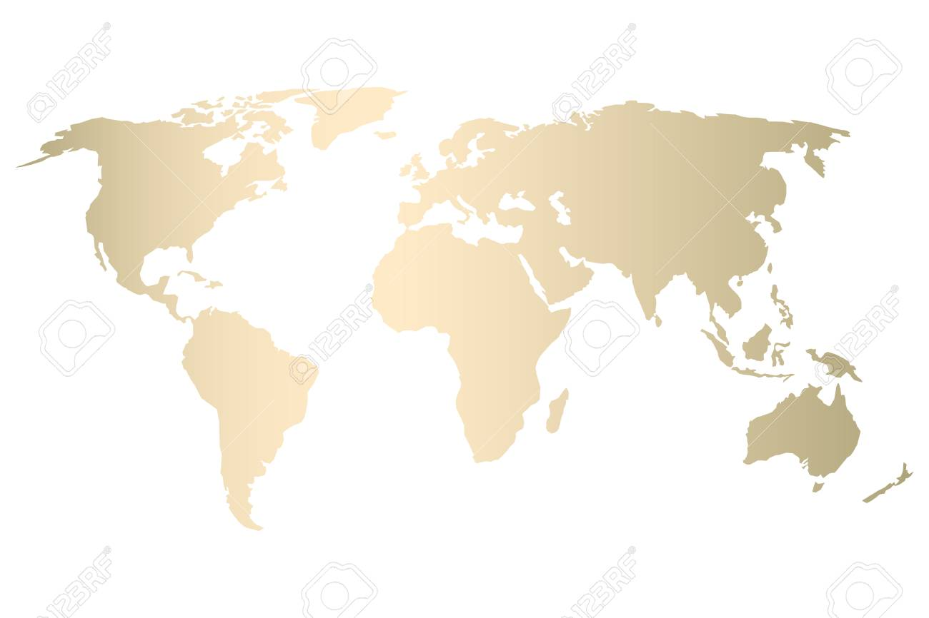Modern Map Of The World.Modern Gold World Map Design Vector Trendy Design