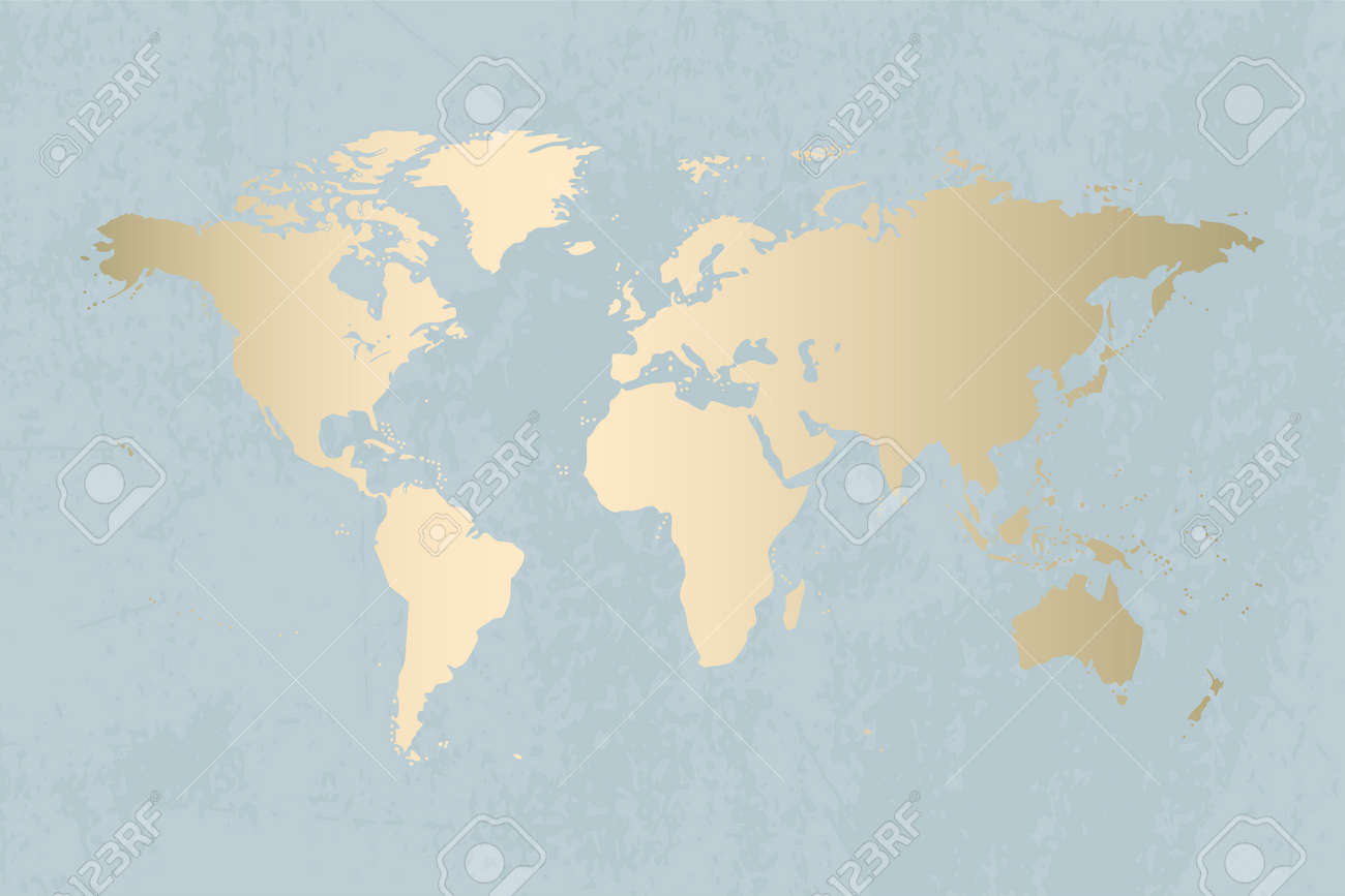 Modern Map Of The World.Modern Gold World Map Design On Grunge Pastel Abstract Texture