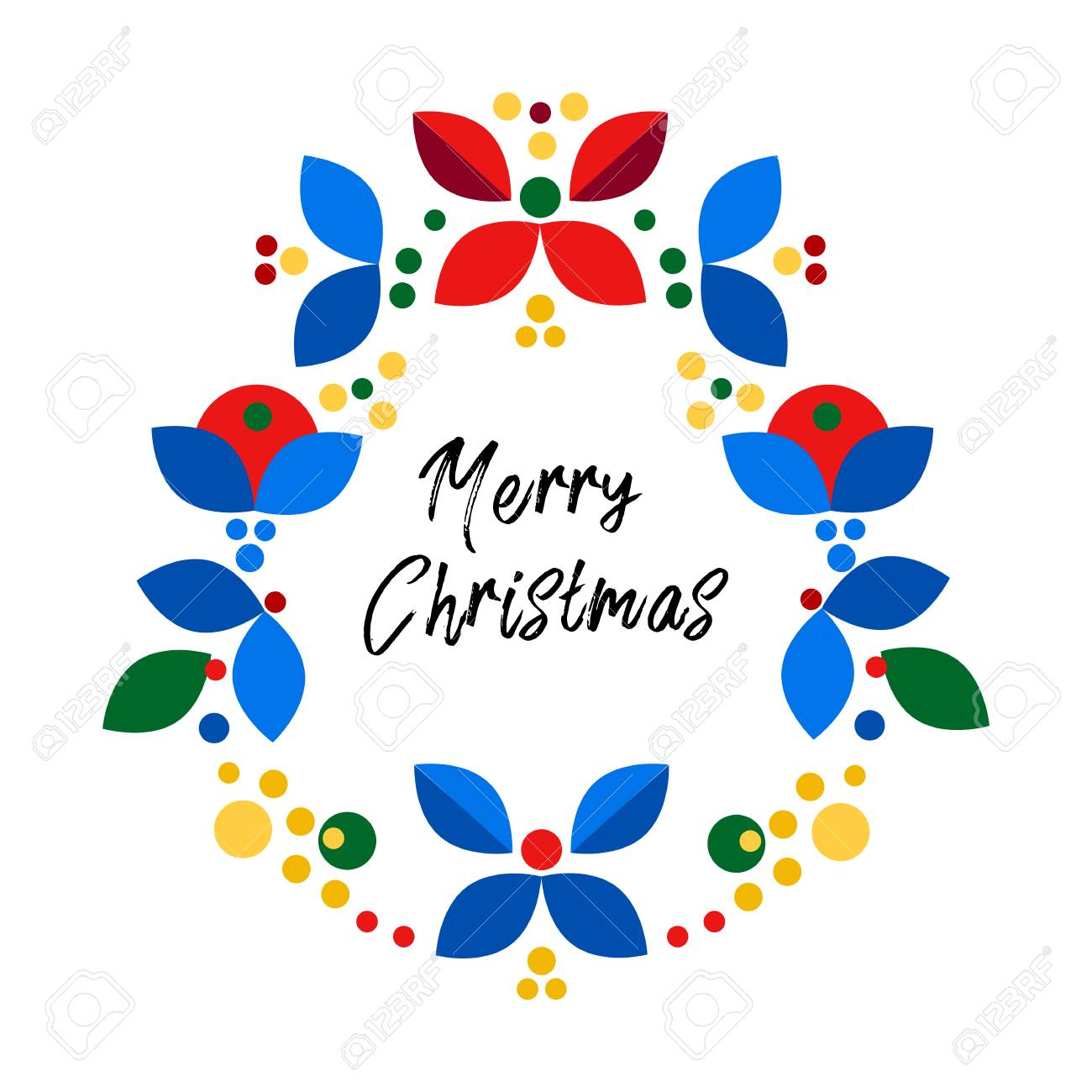 merry christmas happy new year card design abstract flat xmas wreath traditional winter holidays