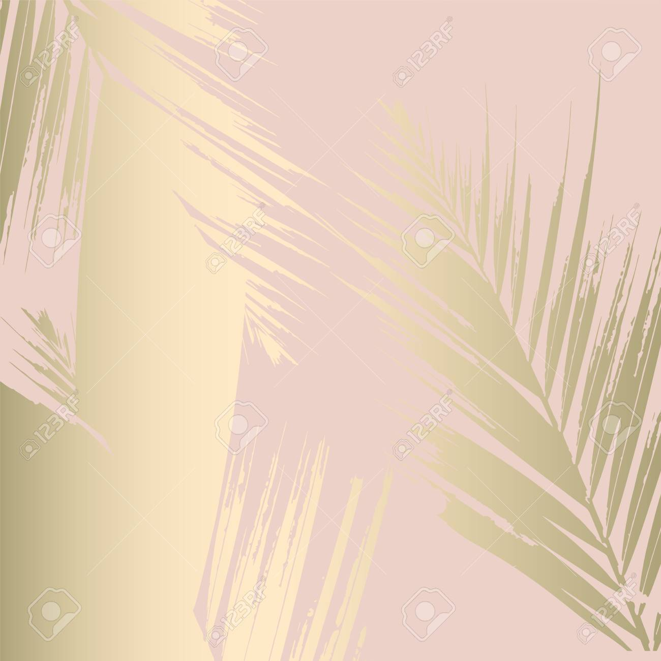 Autumn abstract foliage rose gold blush background. Chic trendy print with botanical motifs - 109793369