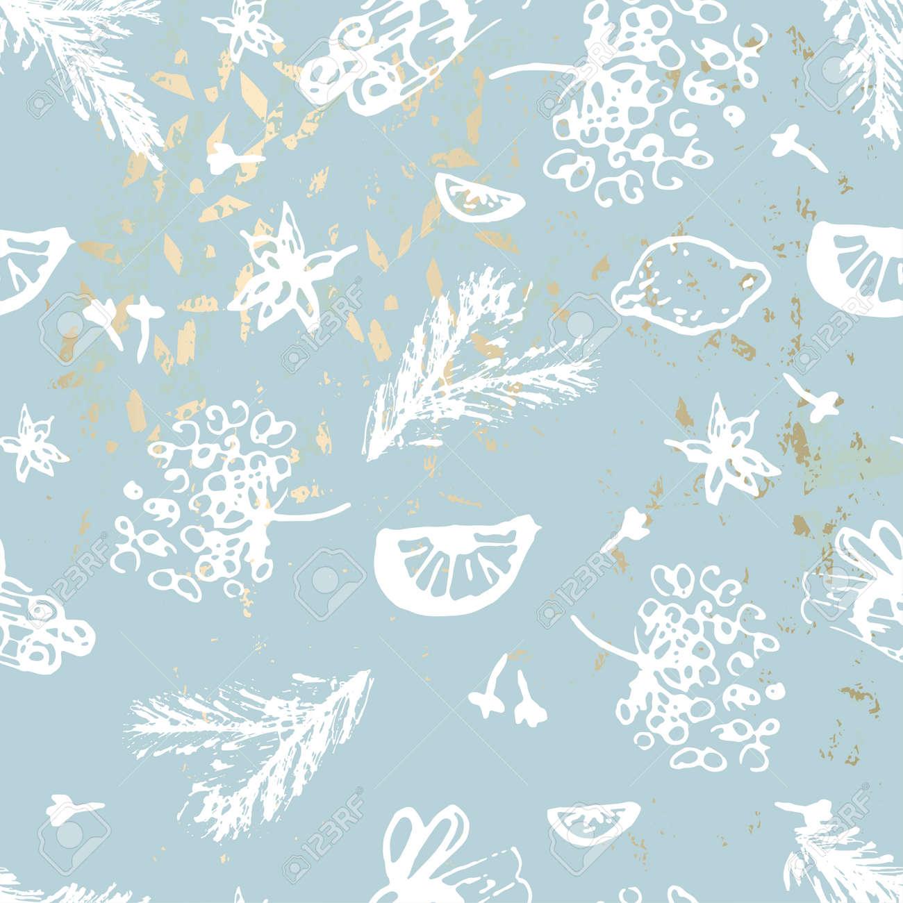 Hand Drawn Chic Winter Painting Pattern On Trendy Pastel Blush