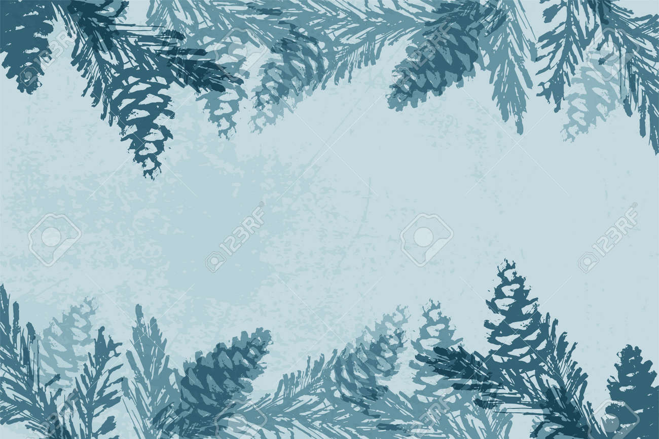 Trendy Chic Pastel Colored Background With Painted Christmas