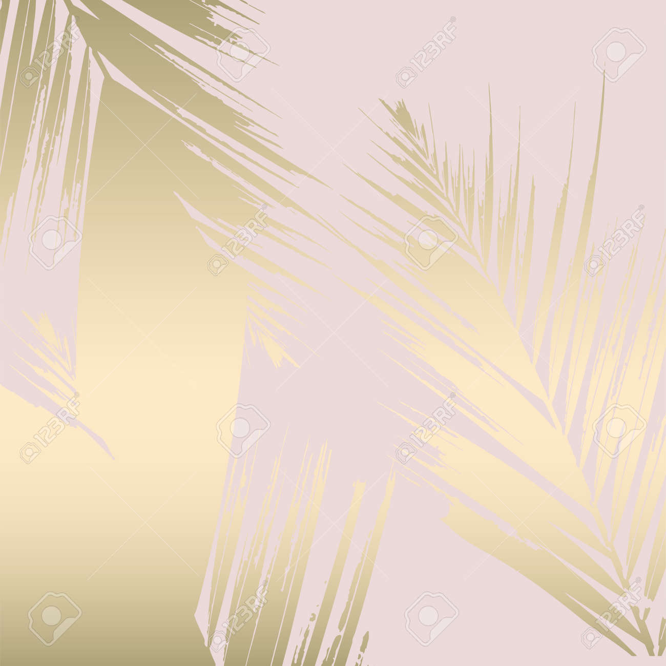 Tropical Worn Floral Pastel Pink Blue Gold Pattern For Wallpaper