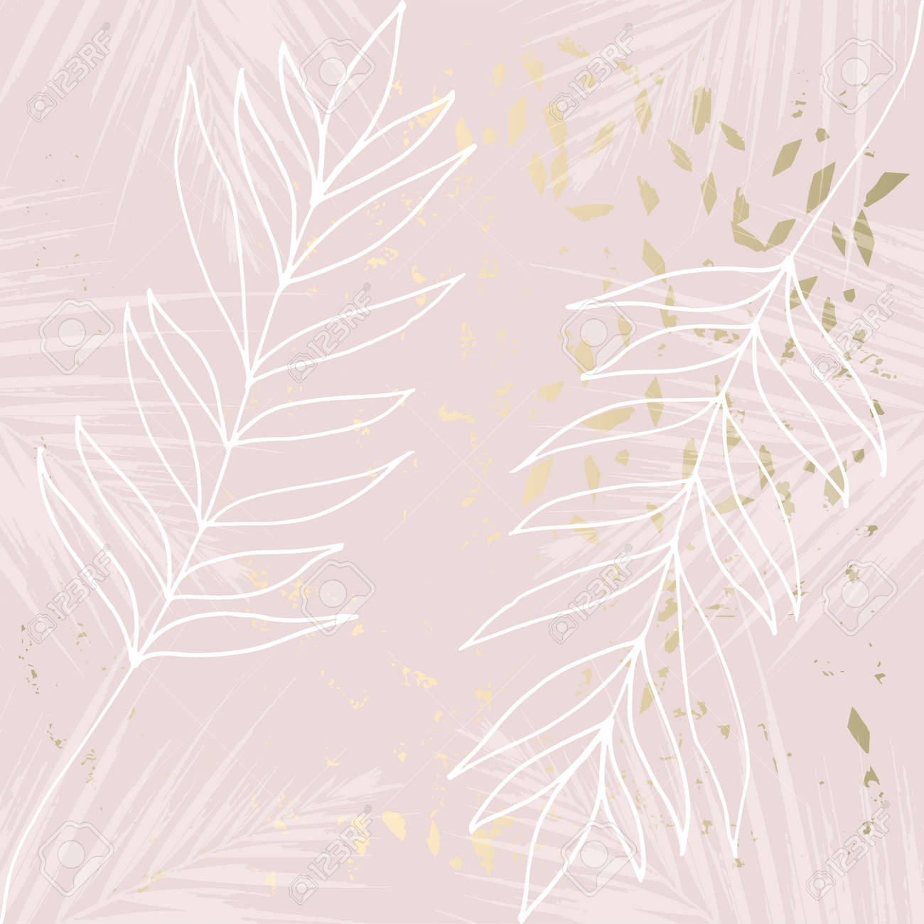Tropical Worn Floral Pastel Rose Gold Marble Pattern For Wallpaper