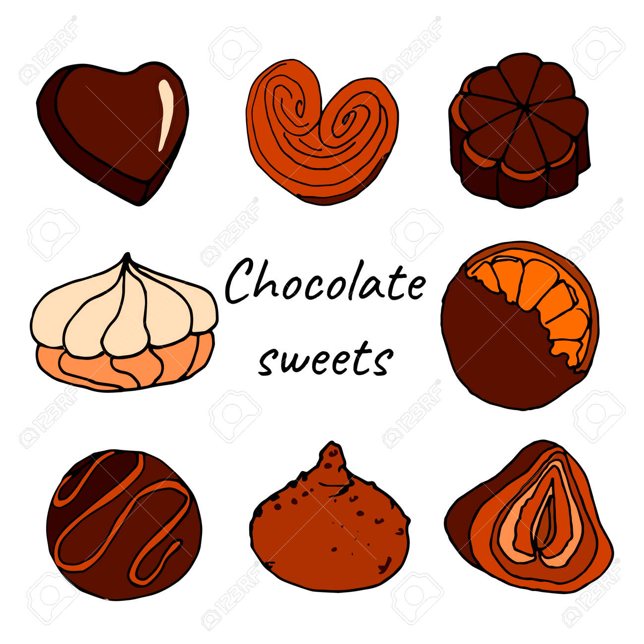 Colored chocolate sweets doode set - 158886372