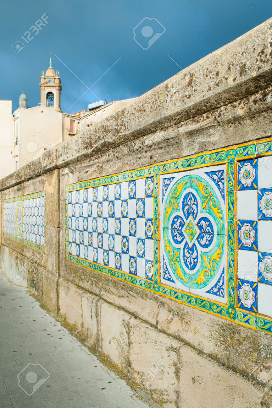 Patterns of colored ceramic tiles along the sides of saint patterns of colored ceramic tiles along the sides of saint francesco bridge in caltagirone stock photo dailygadgetfo Choice Image