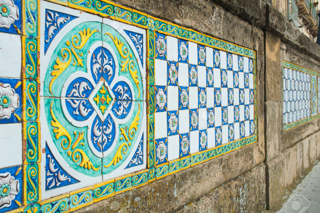 Patterns Of Colored Ceramic Tiles Along The Sides Of Saint Francesco ...