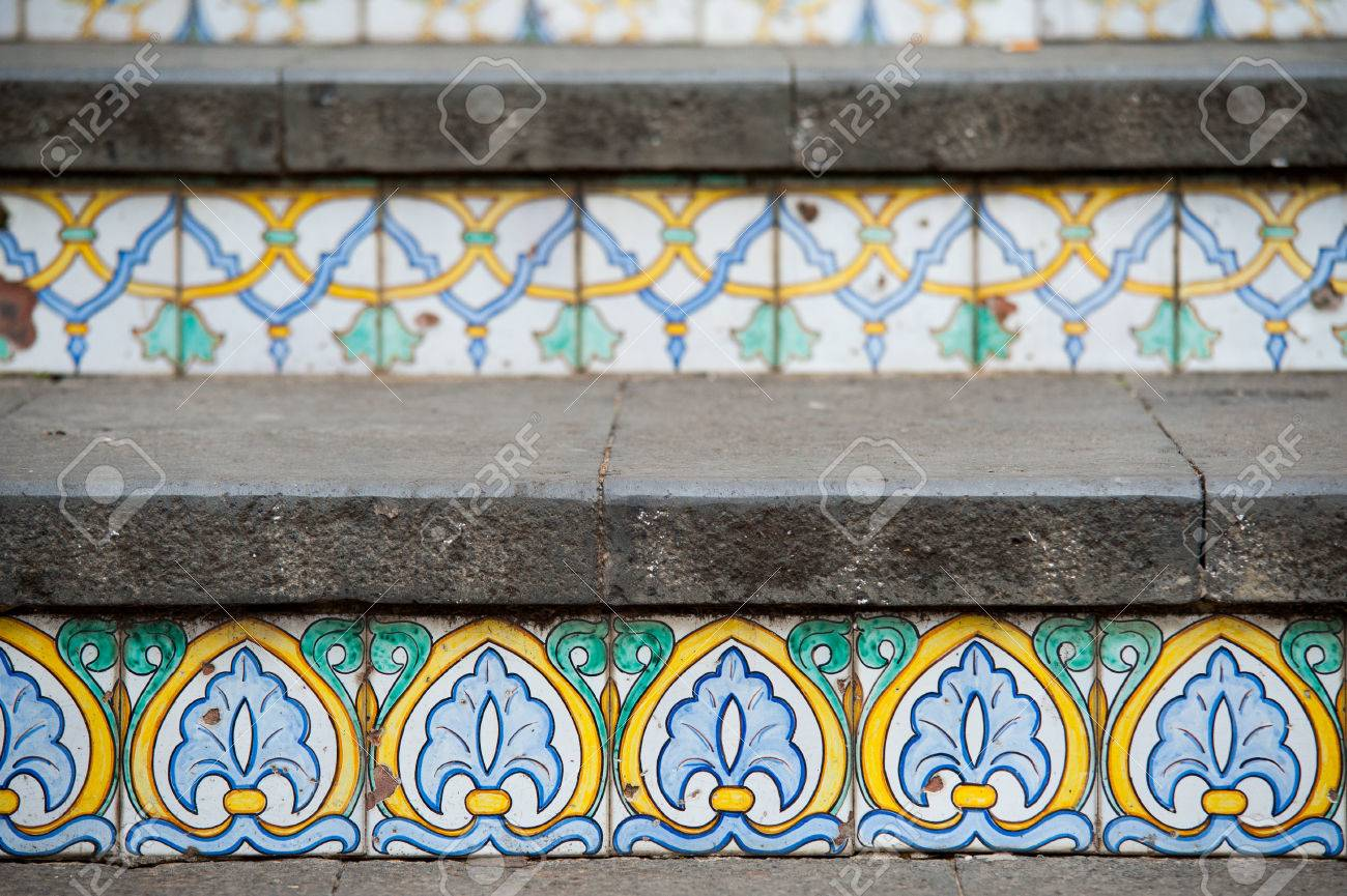 Close up view of some steps of caltagirone staircase with their close up view of some steps of caltagirone staircase with their typical colored ceramic tiles dailygadgetfo Images