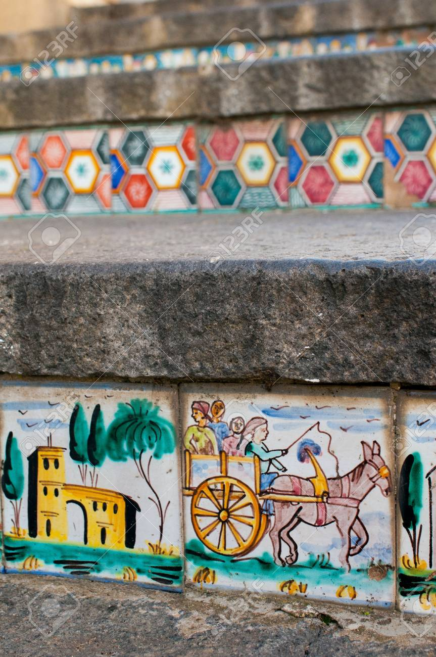 Close up view of some steps of caltagirone staircase with colored close up view of some steps of caltagirone staircase with colored ceramic tiles portraying the dailygadgetfo Choice Image
