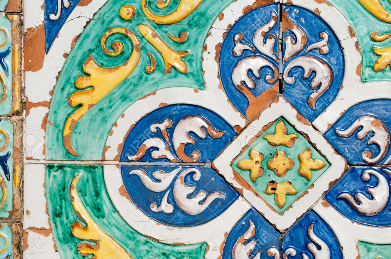 Patterns of colored ceramic tiles along the sides of saint francesco patterns of colored ceramic tiles along the sides of saint francesco bridge in caltagirone stock photo dailygadgetfo Images