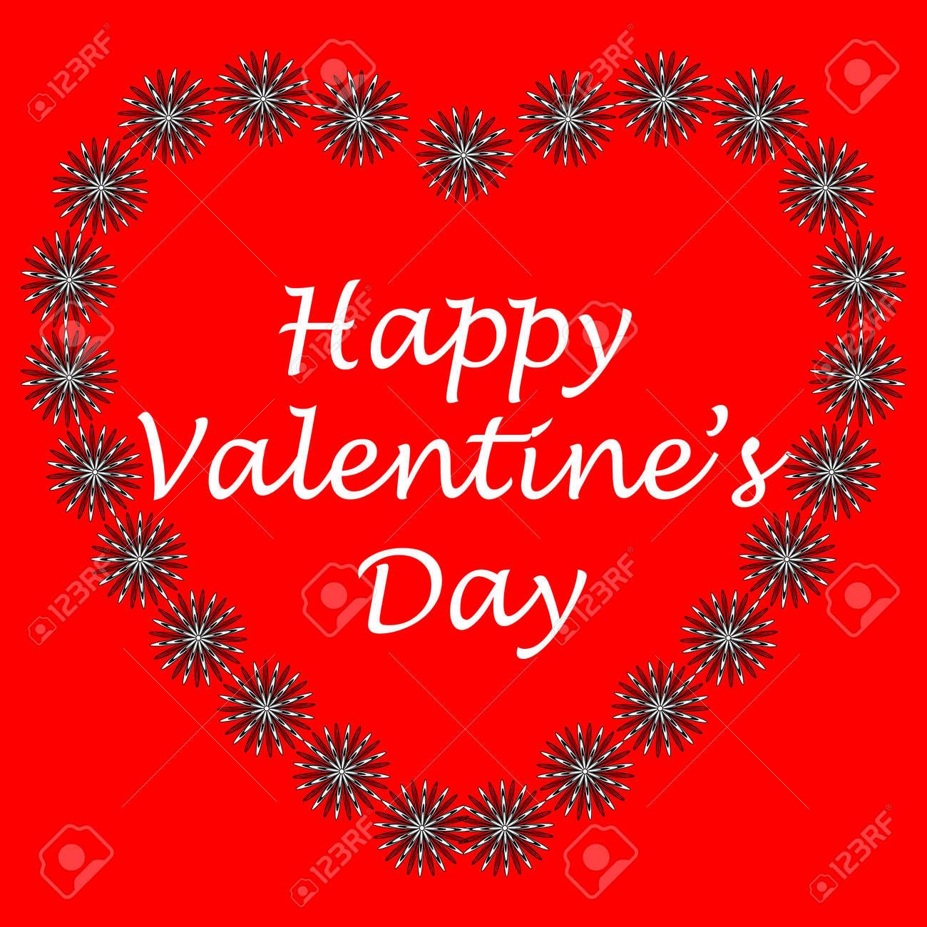 Postcard In Zen Art Style Happy Valentine S Day Heart Of Flowers