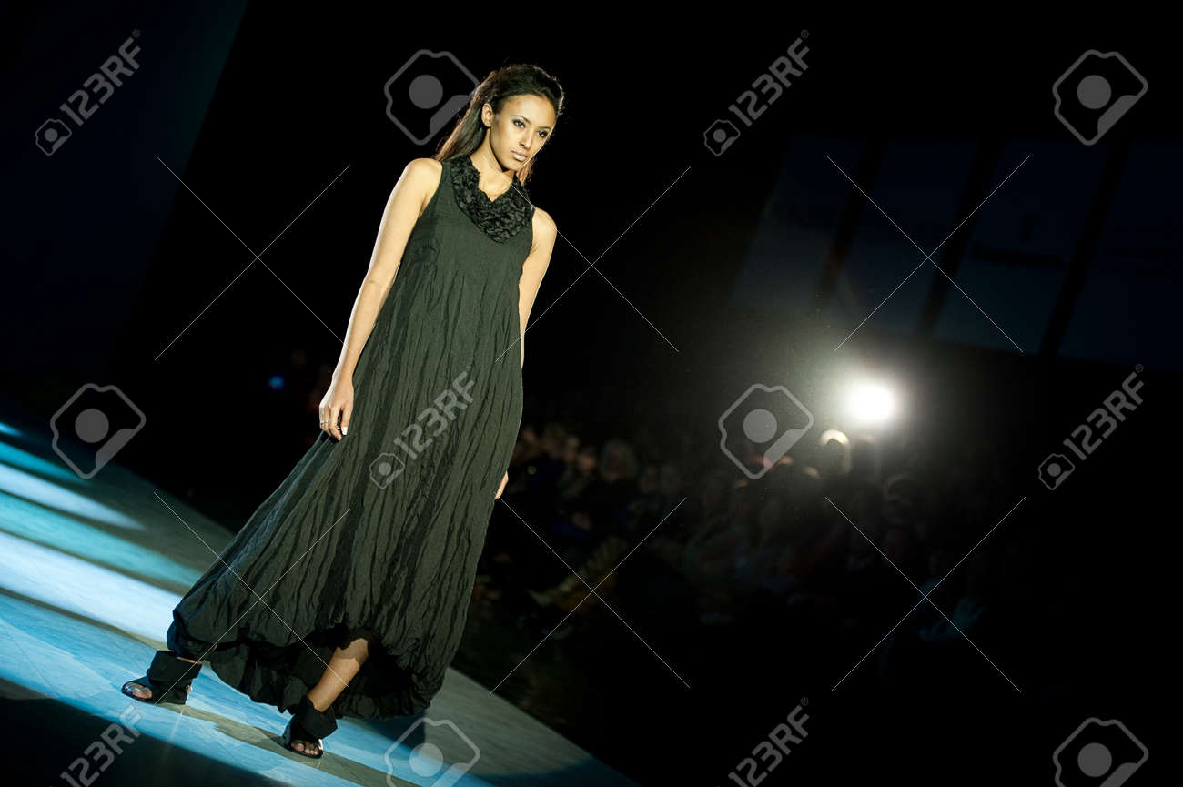 KIEV, UKRAINE - OCTOBER 19: Fashion model wears clothes created by
