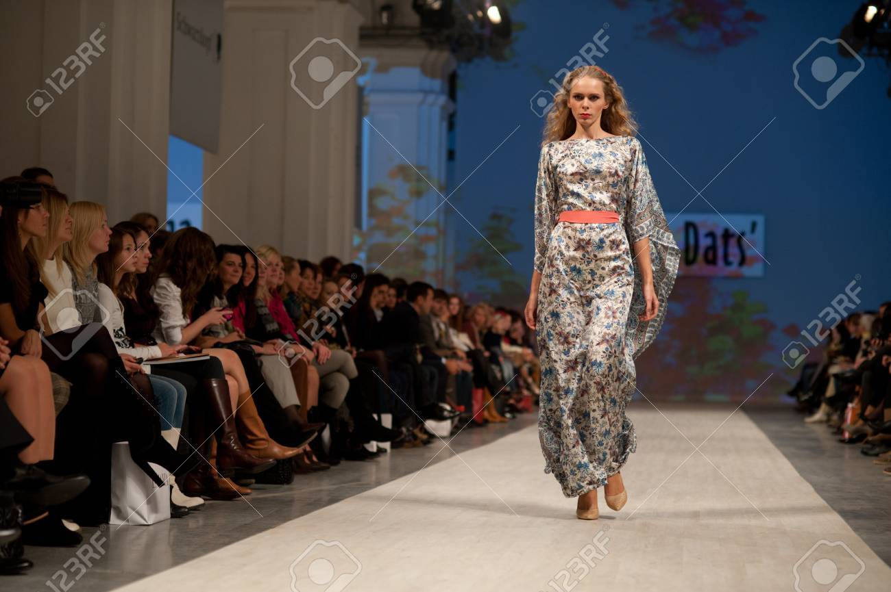 KIEV, UKRAINE - OCTOBER 14: Fashion model wears clothes created by