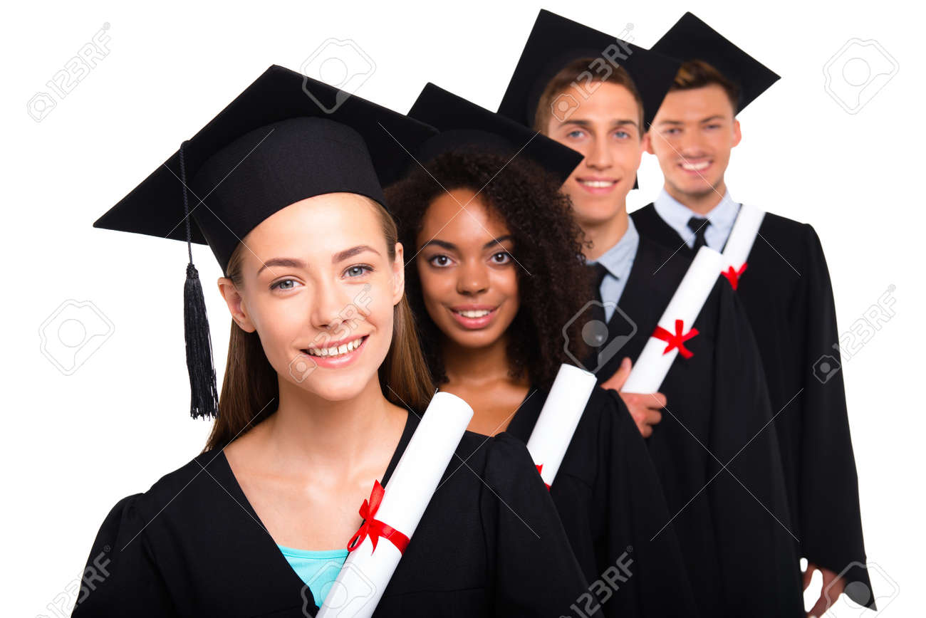 Young Students Dressed In Black Graduation Gowns. Isolated On ...