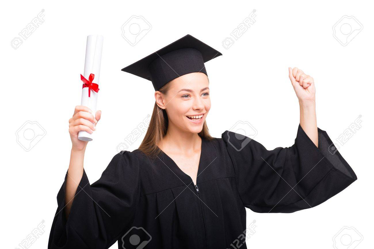 Young Student Girl Dressed In Black Graduation Gown. Isolated ...