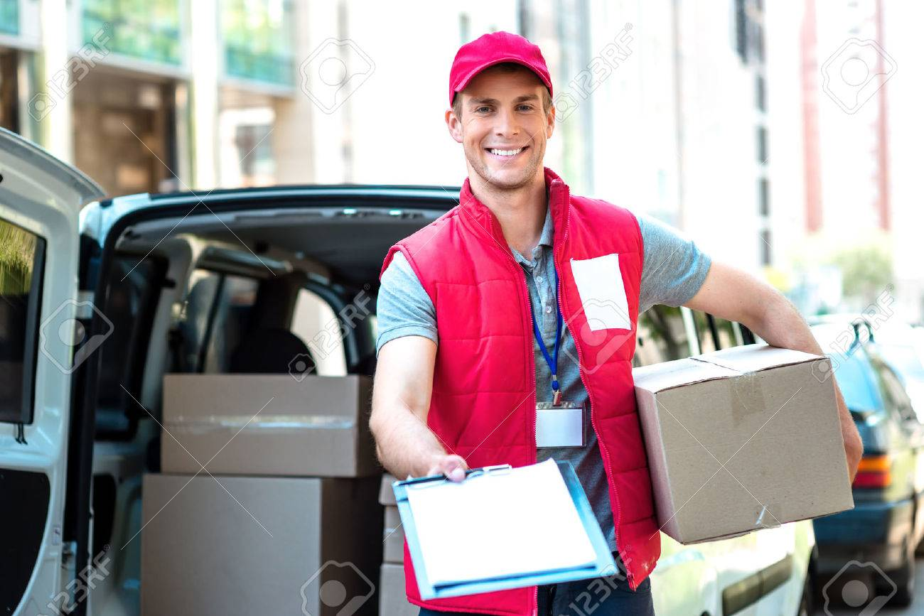Colorful picture of courier delivers package. Courier giving the dokument for sign. - 44007121