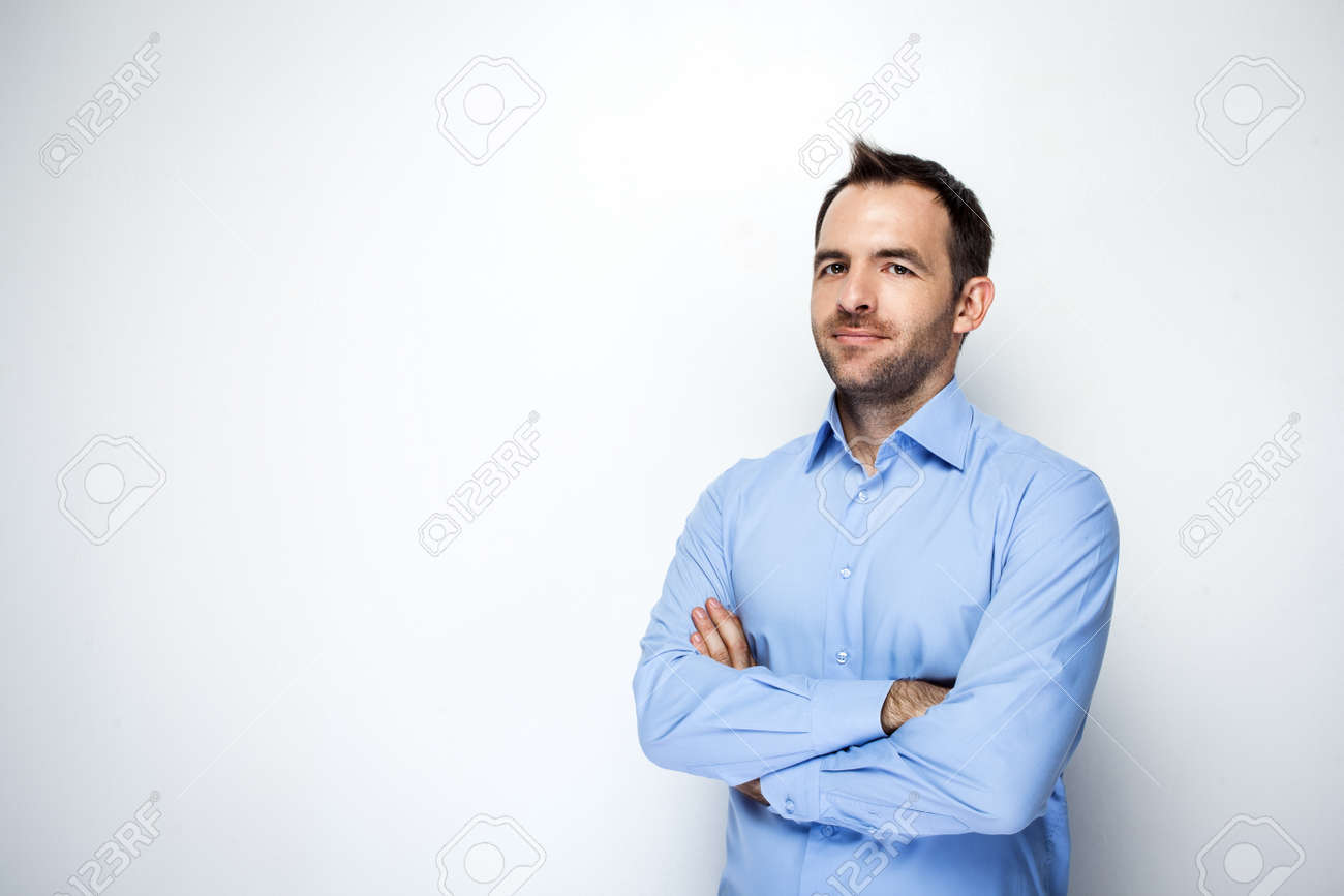 Photo of businessman with beard wearing shirt. Businessman looking at camera. Isolated on white background Standard-Bild - 46697255