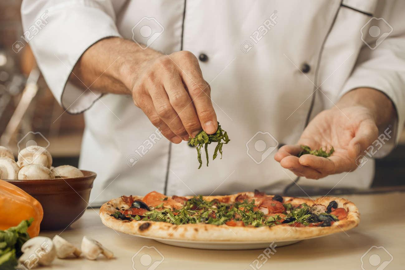 Foto De Archivo   Panadería, Chef, Cocina, Hornear, En, El, Cocina,  Profesional