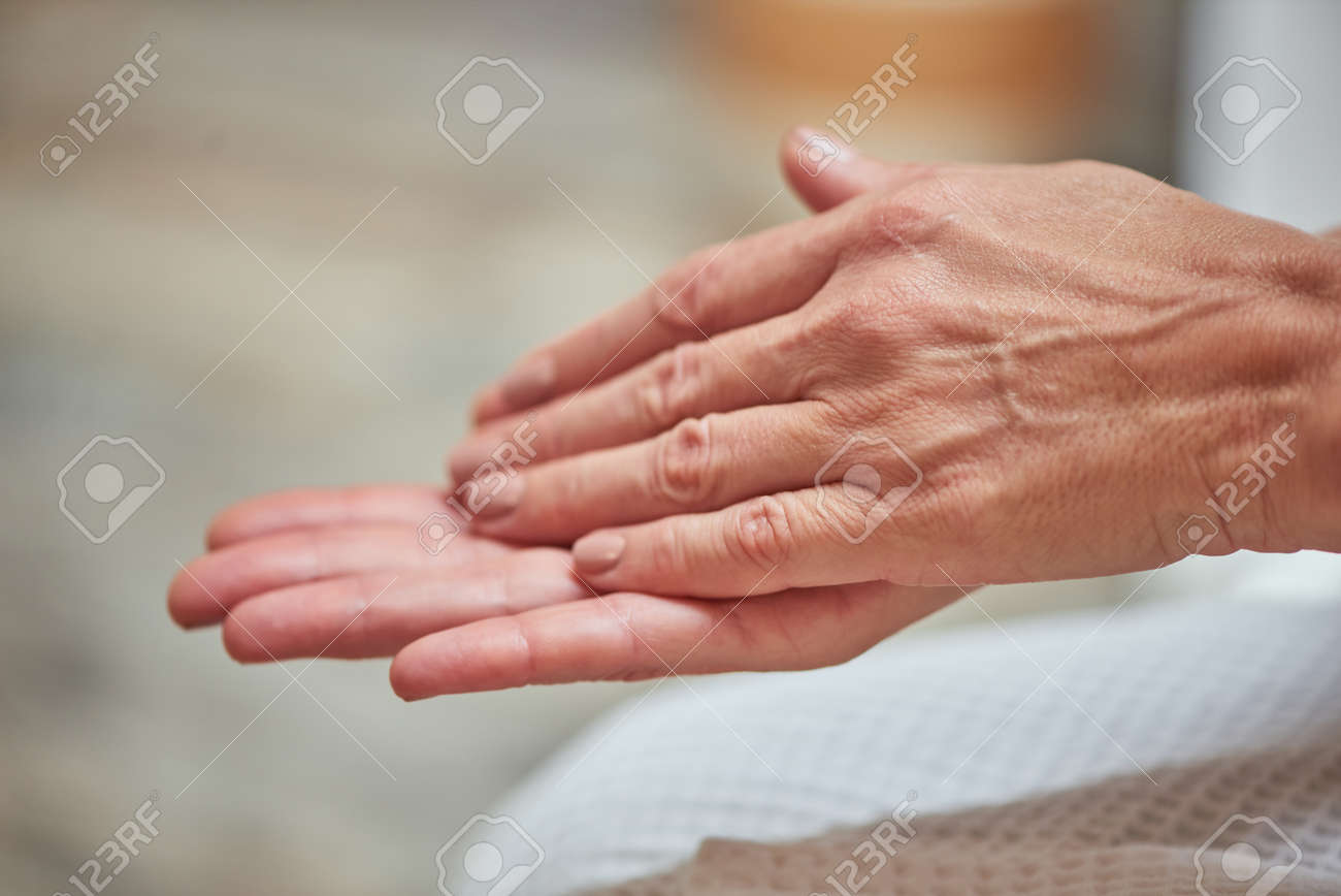 Beautiful manicured middle aged woman hands - 158708548