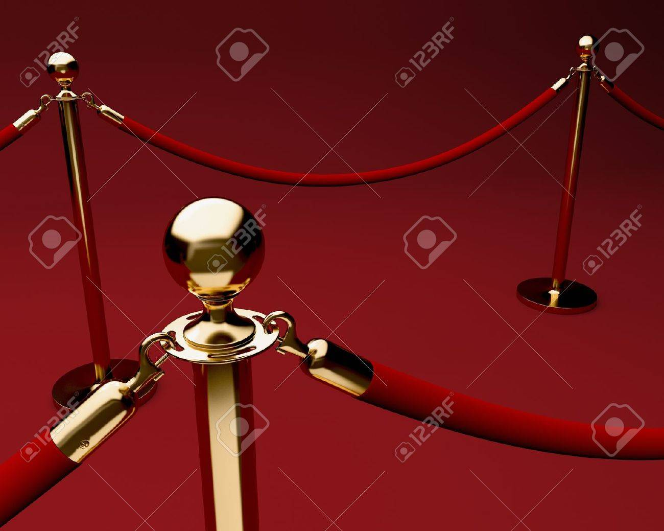 Red carpet with velvet rope barrier and shiny brass stanchions Stock Photo - 8774922