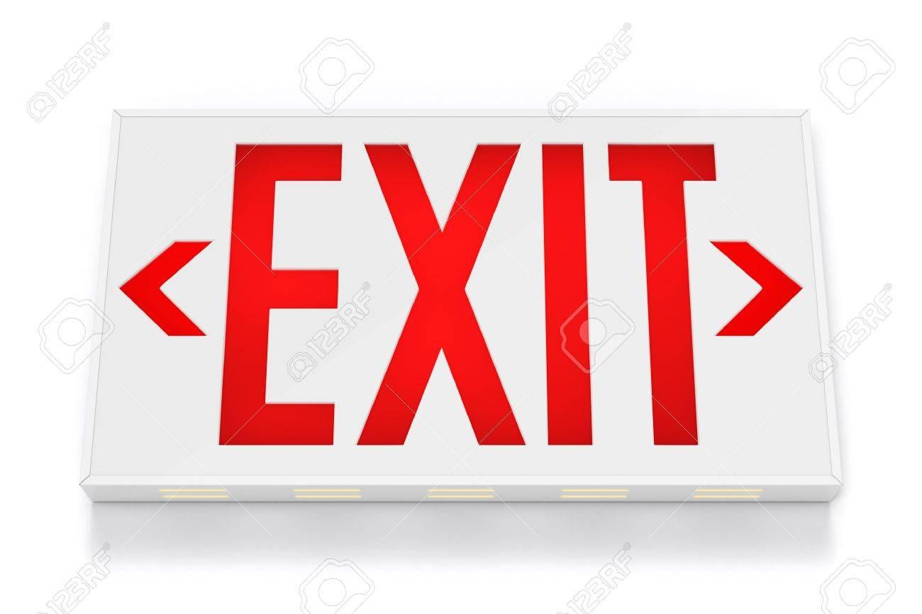 Emergency Exit Sign on White Background Stock Photo - 9682286