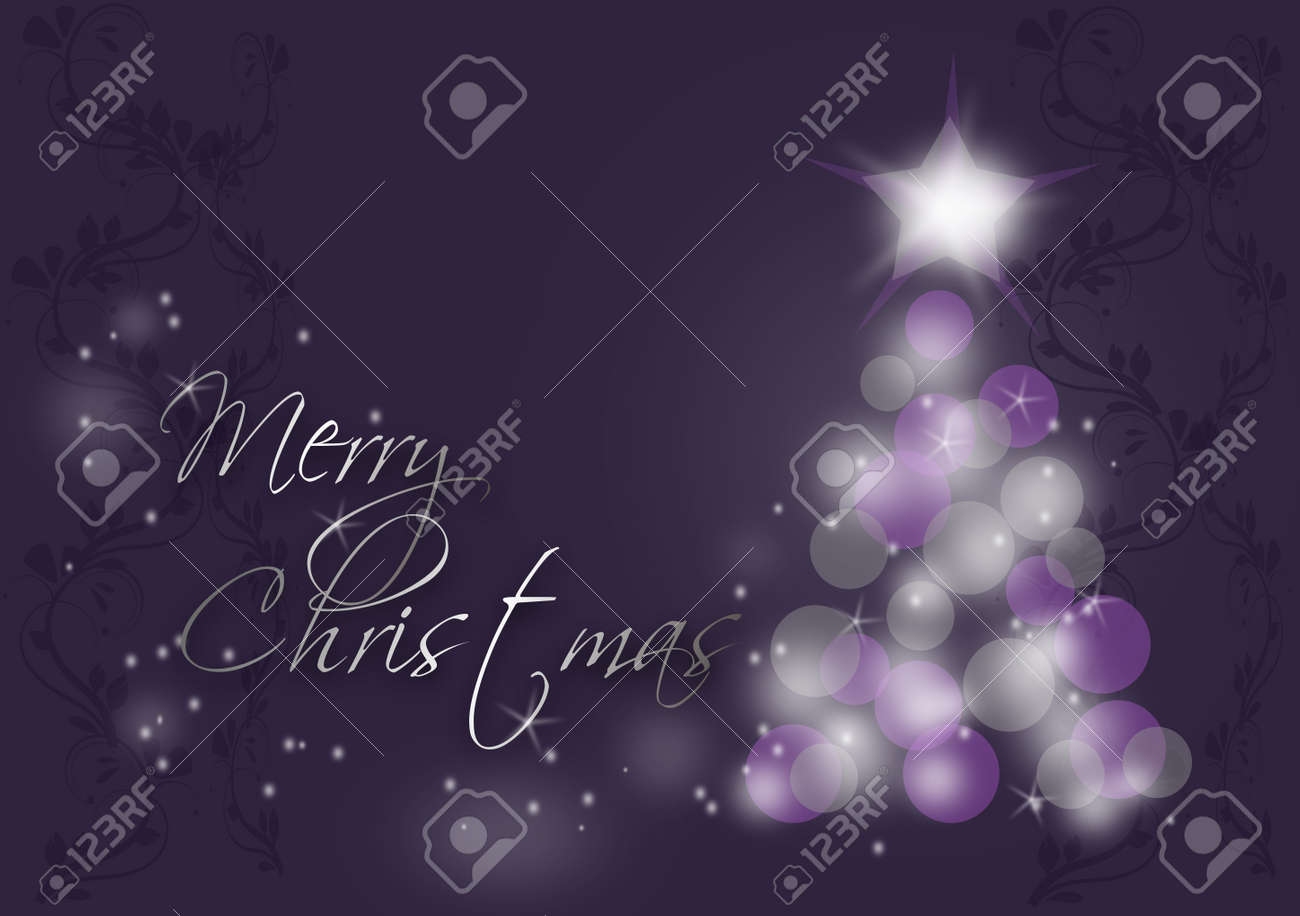 Purple Silver Background With Christmas Tree And Text Merry Christmas