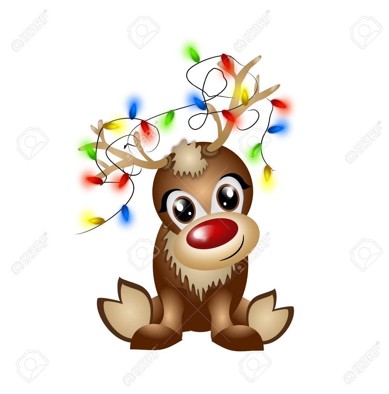 Uncategorized Cute Reindeer cute reindeer with light chain entangled in the antlers stock photo 33032999