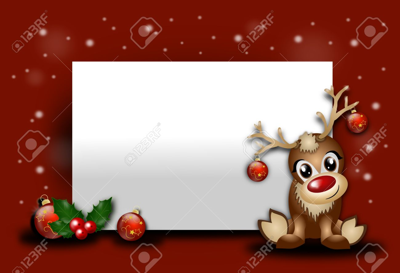 Red Christmas Background With Blank Table And Cute Reindeer Stock Photo