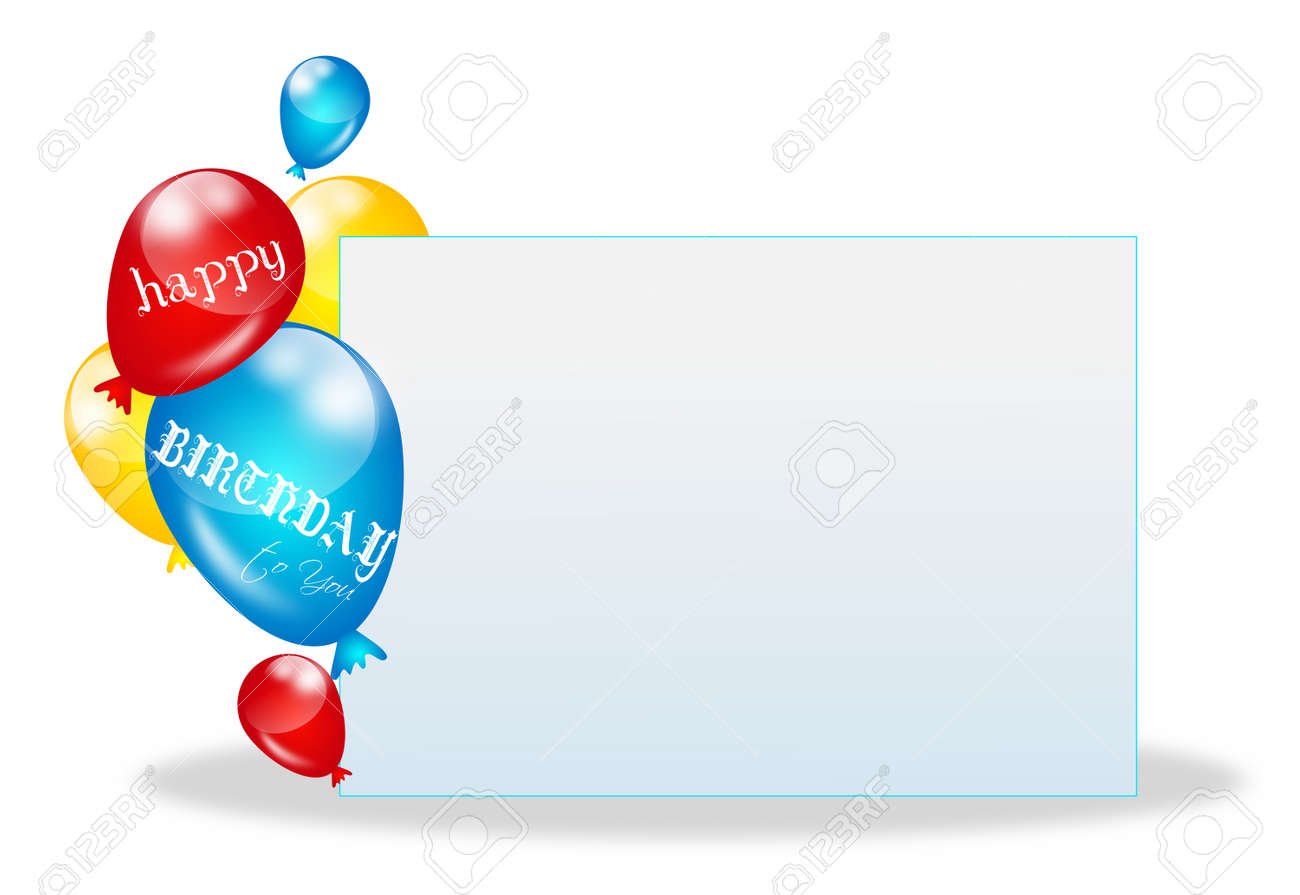Illustration Of Happy Birthday Card With Balloons And Blank Sheet Paper Stock