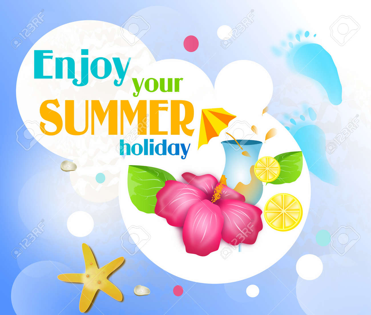 summer card with greeting enjoy your summer holiday stock photo