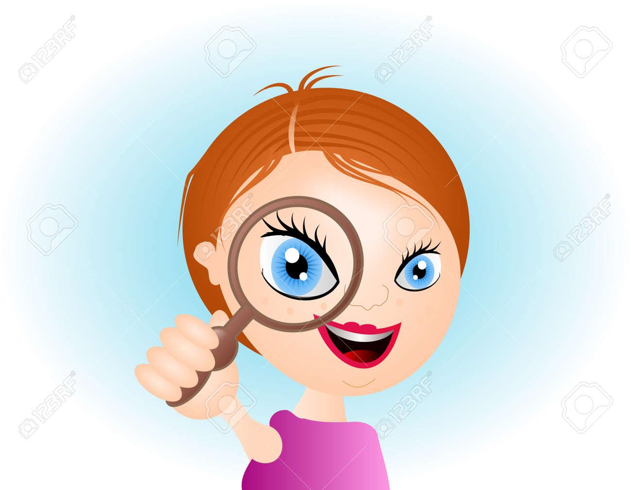 拡大鏡とかわいい笑顔の女の子のイラスト ロイヤリティーフリーフォト