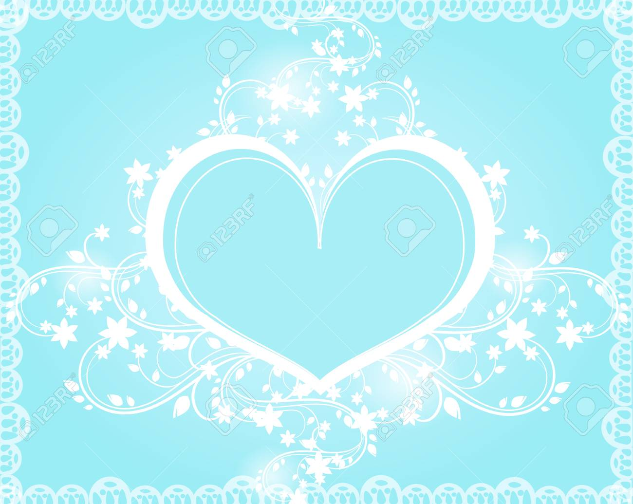Wedding Card With White Heart Ornaments On Light Blue Background Stock Photo Picture And Royalty Free Image Image 43324809