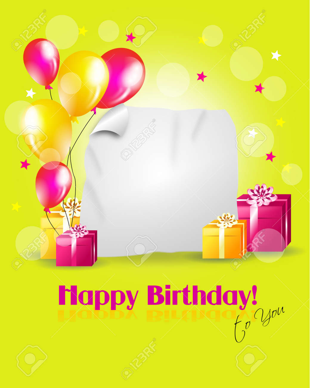 Happy Birthday Greeting Card With Gifts Balloons And Blank Paper For Your Text Stock Photo