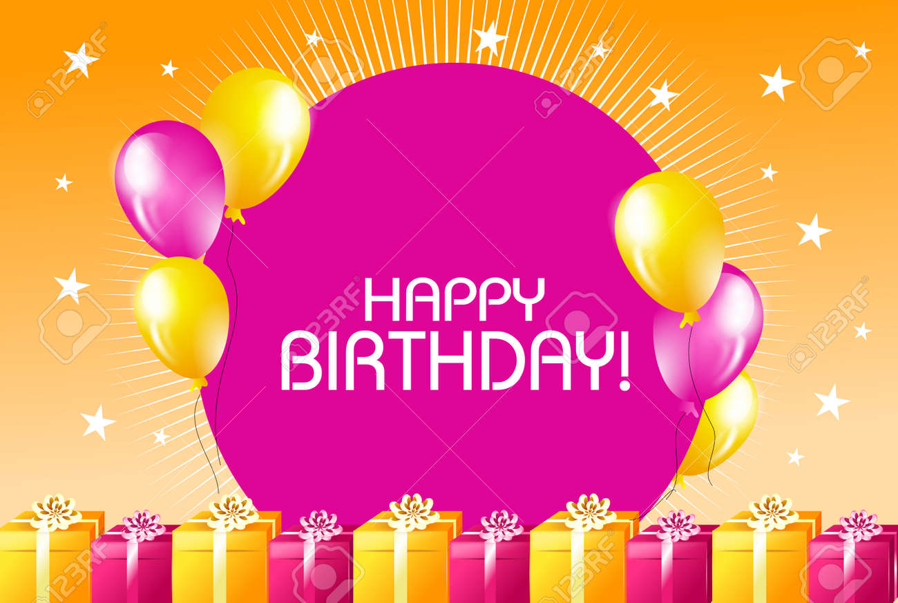 Illustration Of Happy Birthday Greeting Card In Yellow Pink Colors