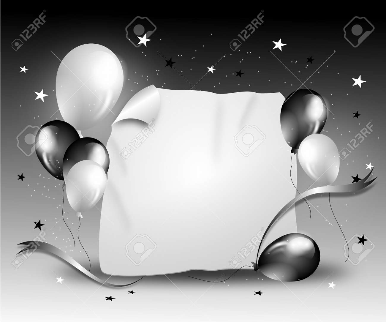 Party Background With Balloons And Ribbon In Black White Colors