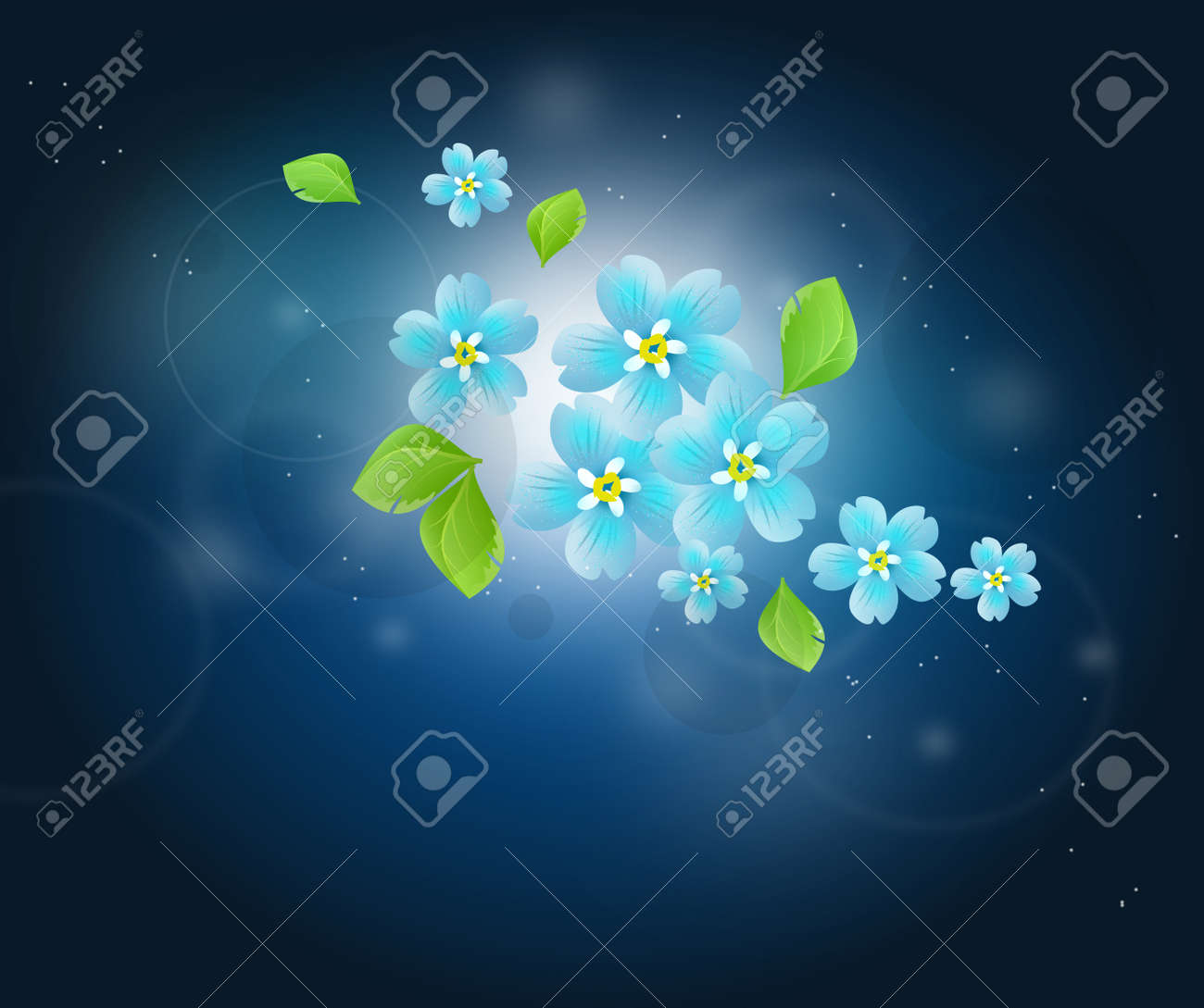 Beautiful Illustration Of Tiny Blue Flowers On Dark Blue Abstract