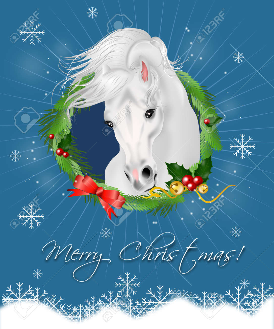 Beautiful Christmas Card With White Horse Illustration Stock Photo Picture And Royalty Free Image Image 46027588