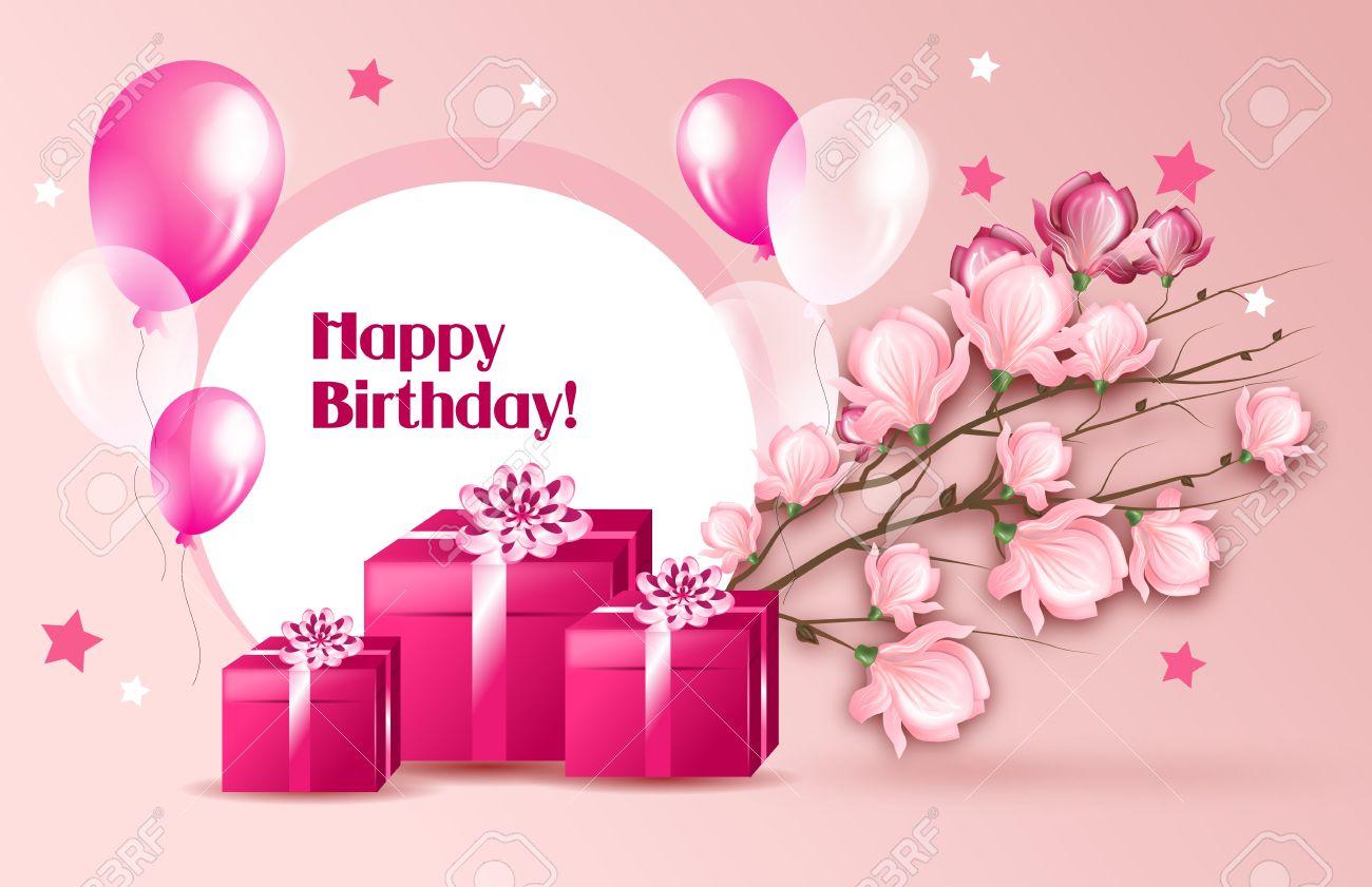 Elegante Rosa Grusskarte Fur Geburtstag Zu Frau Lizenzfreie Fotos