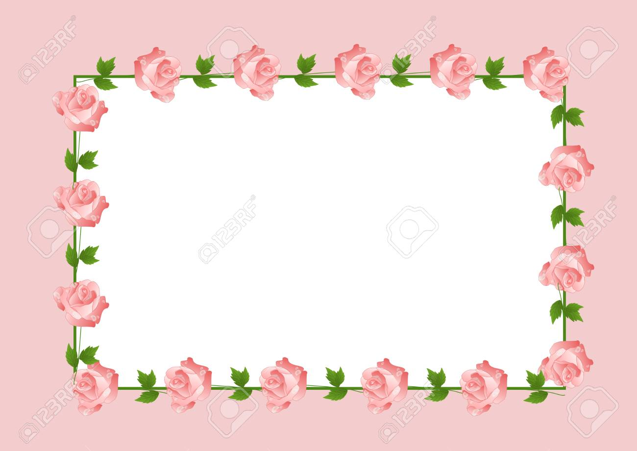 Light Pink Background With Rose Flowers Frame Stock Photo Picture