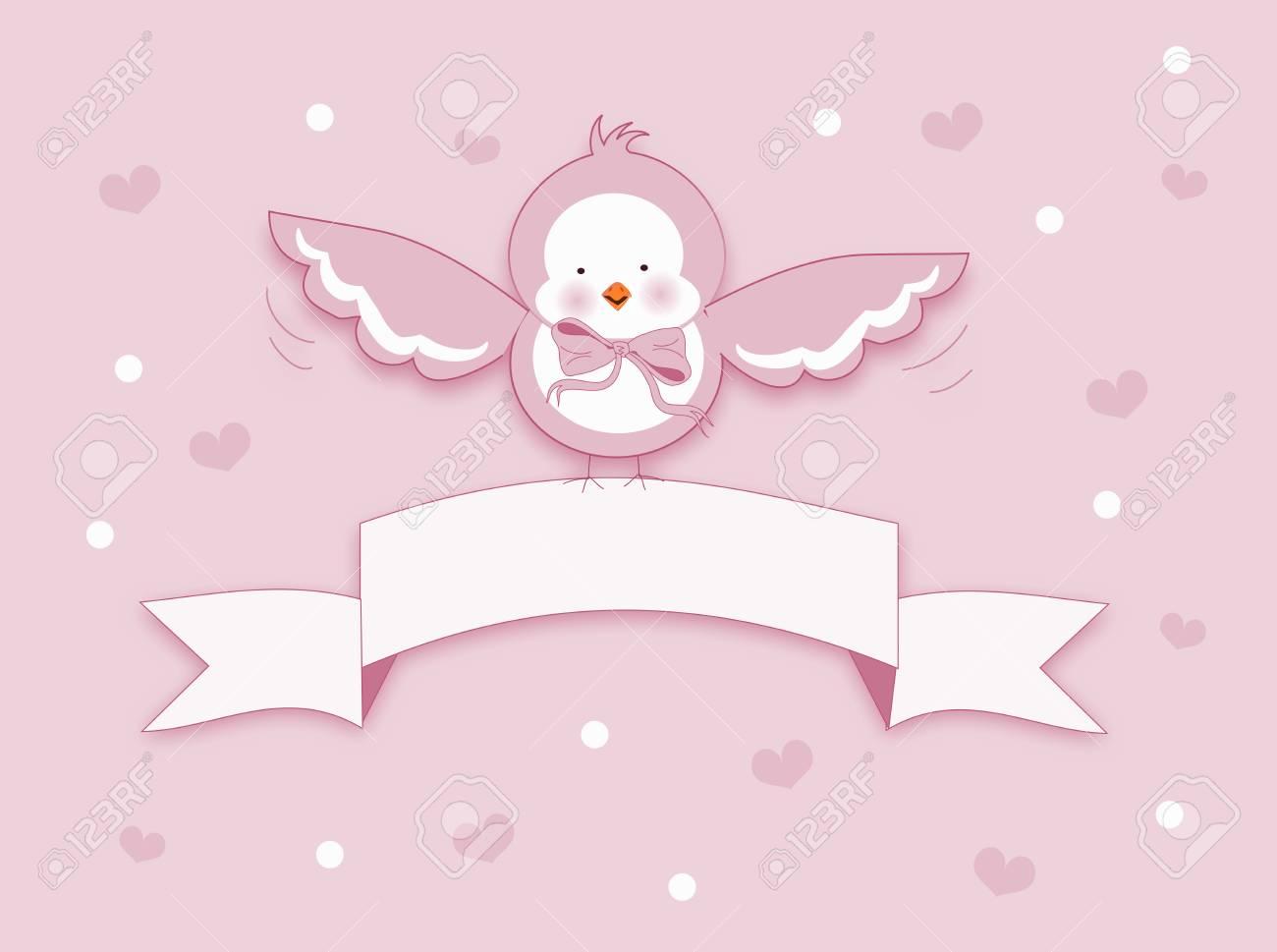 光ピンク小鳥とホワイト リボンのかわいいイラスト の写真素材画像素材