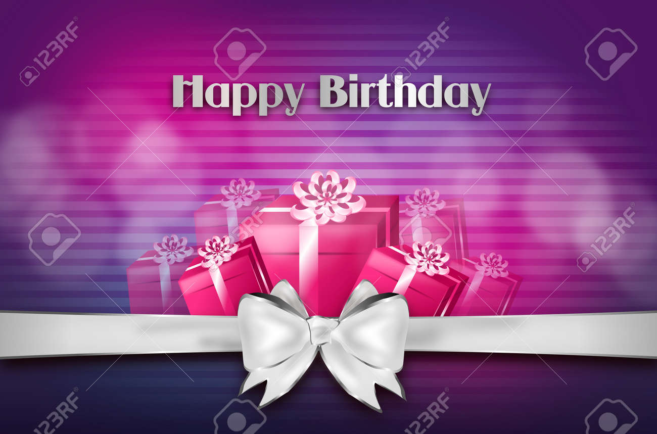 Elegant Happy Birthday Greeting Card With Gifts And Silver Ribbon Stock Photo