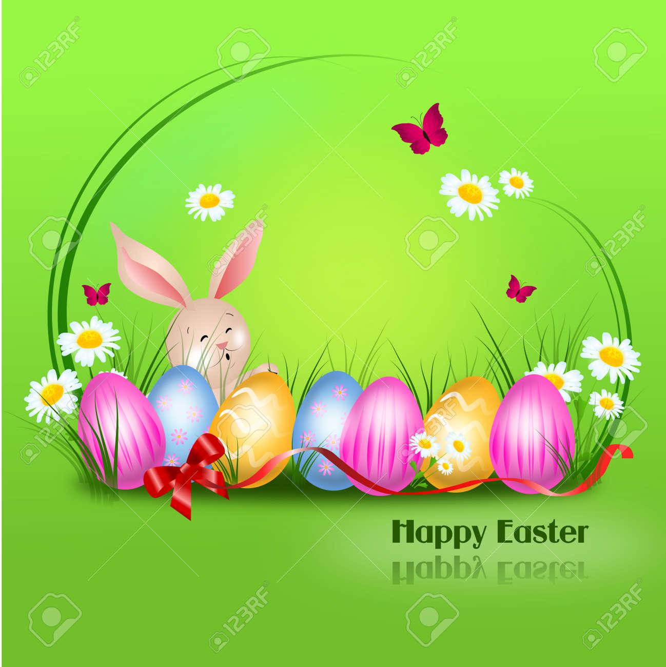 Schöne Ostern Hintergrund Mit Osterhase Und Ostereier Lizenzfreie